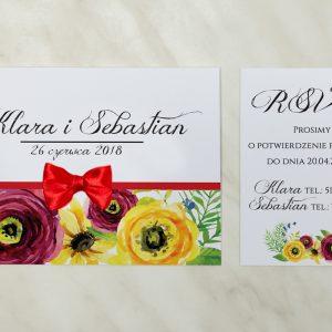 zaproszenie ślubne polne kwiaty w stylu boho